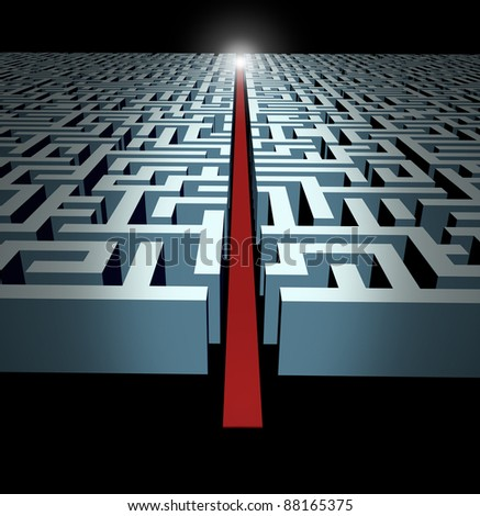 Leadership and strategy through business challenges and obstacles represented by a maze and labyrinth with a clear solution shortcut path opened with a red velvet carpet for   success and victory.