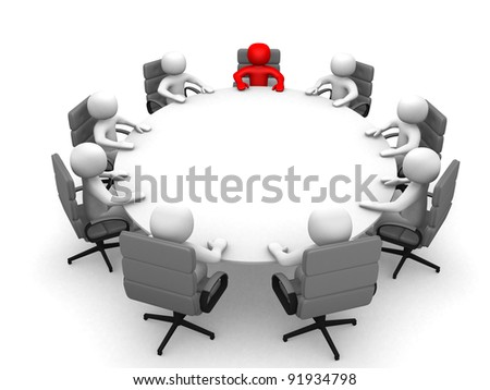Leadership and team at conference table - This is a 3d render illustration