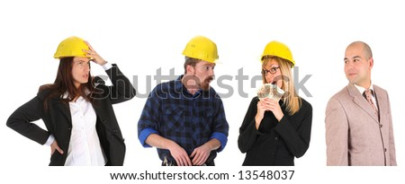 Leadership and team of workers on white background