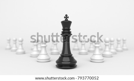 Leadership concept, black king of chess, standing out from the crowd of white pawns. 3D Rendering