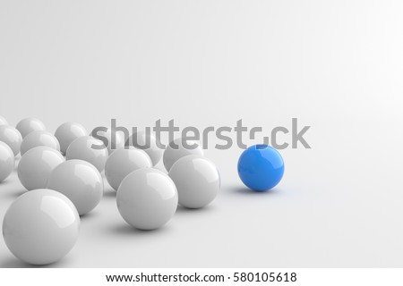 Leadership concept, blue leader ball leading whites. 3D Rendering