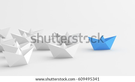 Leadership concept, blue leader boat leading whites. 3D Rendering #609495341