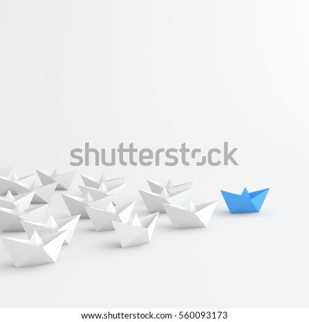 Leadership concept, blue leader boat leading whites, on white background. 3D Rendering.
