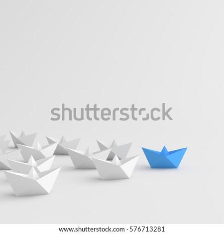 Leadership concept, blue leader boat leading whites, on white background. 3D Rendering.