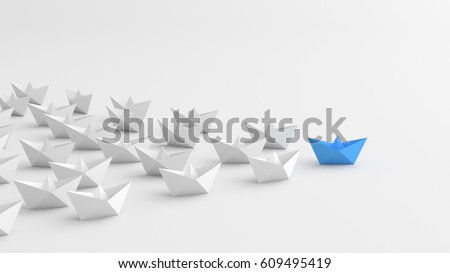 Leadership concept, blue leader boat, standing out from the crowd of white boats. 3D Rendering.