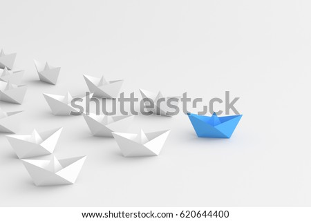 Leadership concept, blue leader boat, standing out from the crowd of white boats, on white background. 3D Rendering.