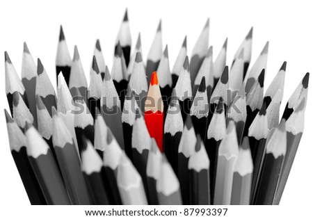 Leadership concept - bunch of gray pencils with red one