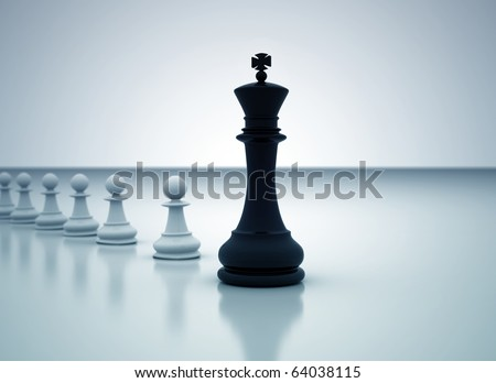 Leadership concept - Chess king leading the pawns