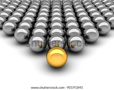 Leadership concept - 3D illustration chrome balls