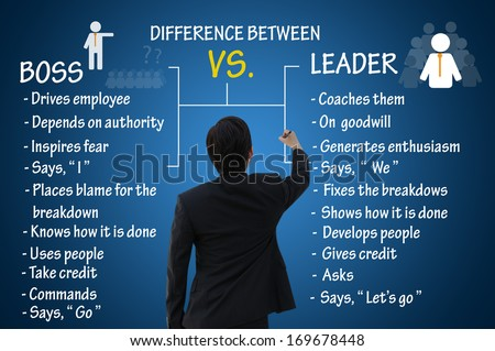 Leadership concept, difference between boss and leader #169678448