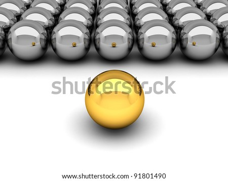 Leadership concept - gold and silver balls