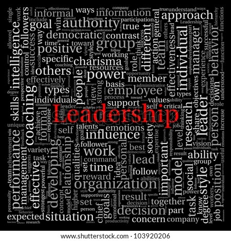 Leadership concept in word tag cloud on black background