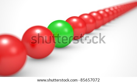 leadership concept, red and green balls, 3d illustration on a white