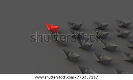Leadership concept, red leader boat leading blacks. 3D Rendering
