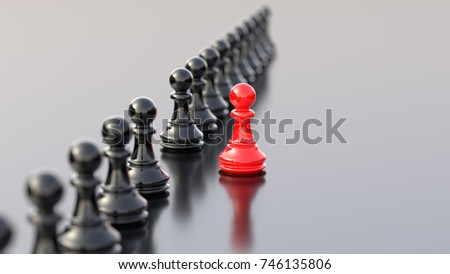 Leadership concept, red pawn of chess, standing out from the crowd of blacks. 3D Rendering