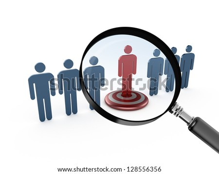 Leadership concept, red social man on target and magnifying glass focusing on it,, isolated on white background.