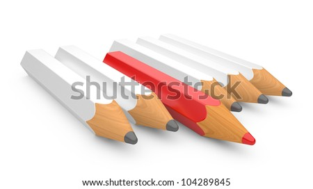 leadership concept with color pencils on a white background