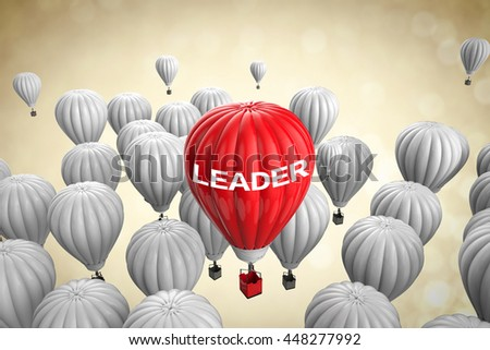 leadership concept with 3d rendering red hot air balloon