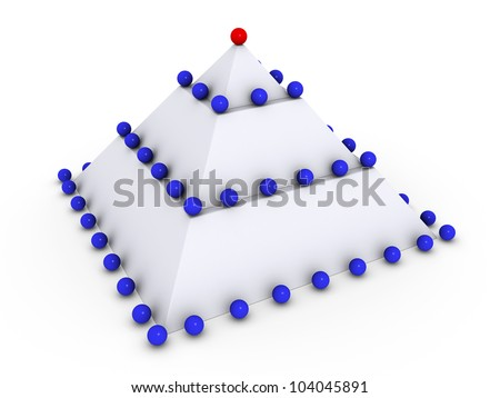 Leadership concept with 3d spheres on pyramid