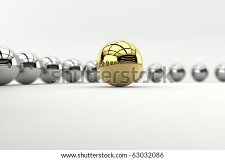 Leadership concept with golden sphere and many chrome spheres with depth of focus effect
