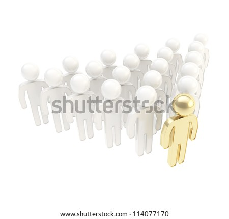 Leadership conception metaphor as a crowd of glossy symbolic human figures with a golden leader ahead, composition isolated on white background