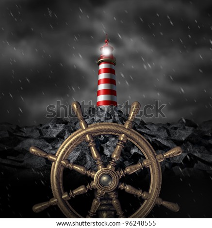 Leadership Decisions and strategy navigating a through a storm and troubled business challenges with wind and rain as a ship wheel icon and a light house beacon warning of dangers ahead.