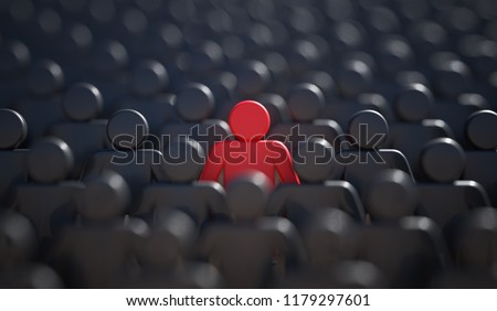 Leadership, difference and standing out of crowd concept. 3D rendered illustration. Stockfoto ©