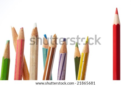 leadership makes differences shown by color pencils