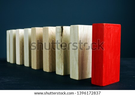 Leadership or unique and difference concept. Line from wooden blocks.
