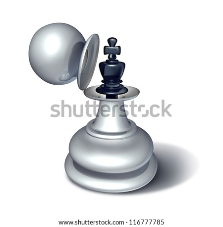 Leadership potential and emerging business confidence as a chess game king figurine revealed inside a large pawn disguise as a concept for planning a strategy of successful management on white.