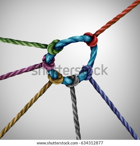 Leadership pull concept and guiding a team as a leader directing the direction of a diverse group of rope symbols tied to a circle as a business metaphor for strong guidance. #634312877