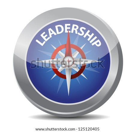leadership red word indicated by compass illustration design over white