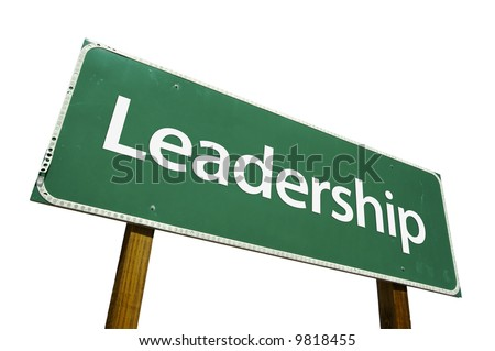 Leadership road sign isolated on a white background.