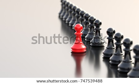 Leadership, success, and teamwork concept, red pawn of chess, standing out from the crowd of black pawns. 3D rendering.
