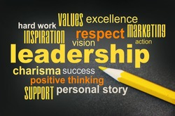 Leadership Word Cloud with yellow pencil besides. Leader teamwork coaching charisma concept.