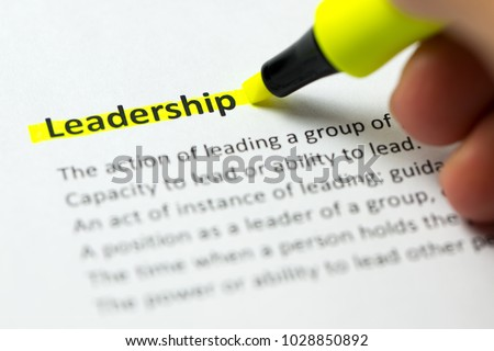 Leadership word highlighted in yellow color with a highlighter pen #1028850892