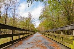 Leading lines of a wooden bridge leading over a creek and surrounded by trees under a cloudy blue sky on the Neuse River Greenway in Raleigh., North Carolina, USA; landscape view