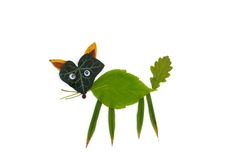 leaf animals clip art, DIY, fall or summer activity for kids, abstract fox
