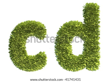 Leaf covered letters c and d - part of a full alphabet