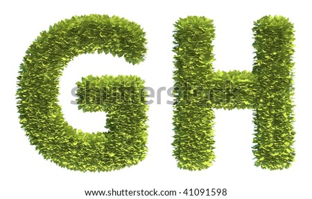 Leaf covered letters G and H - part of a full alphabet