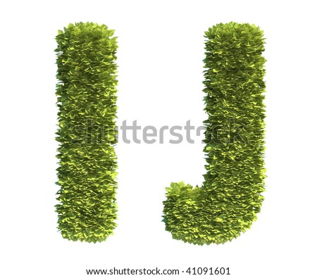 Leaf covered letters I and J - part of a full alphabet