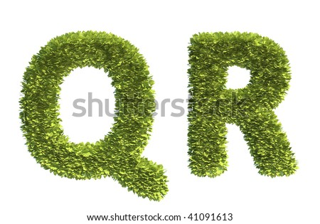 Leaf covered letters Q and R - part of a full alphabet