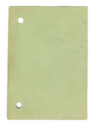 Leaf from a vintage 50s notebook, green in color, with two punched holes, on a white background.