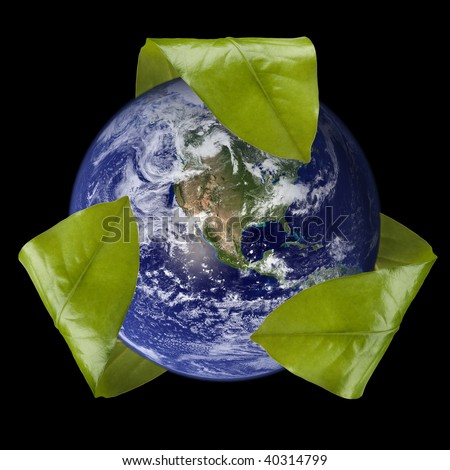 Leaf Recycle Symbol Around Earth, West