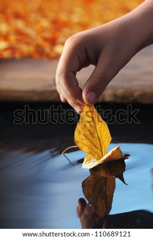 leaf ship in children hand