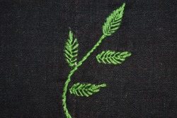 leaf stitch with stem stitch in Brazilian embroidery, leaves stitch on the black fabric, brasilein  embroidery, brasilien embroidery