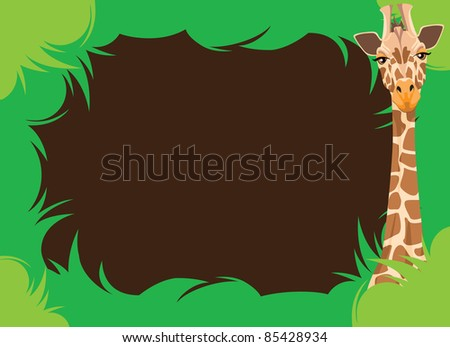 Leafy Border With Giraffe Illustration