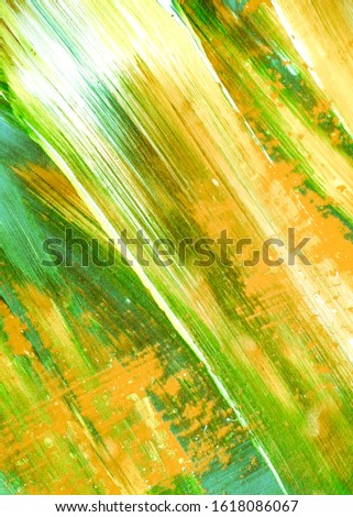 Leafy Color Mustard Hand Drawn Dirty Art. Fresh Green Summer Acrylic Painting. Lime Green Yellow Abstract Eco Background. Spring Green Sunny Acrylic Canvas. Grassy Color Mustard Oil Brush Stroke.