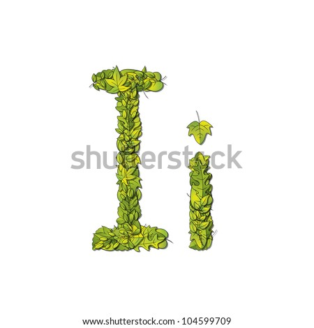 Leafy storybook font depicting a letter I in upper and lower case. Raster.