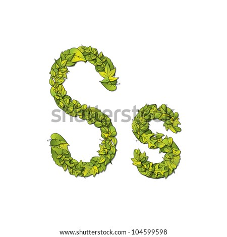 Leafy storybook font depicting a letter S in upper and lower case. Raster.